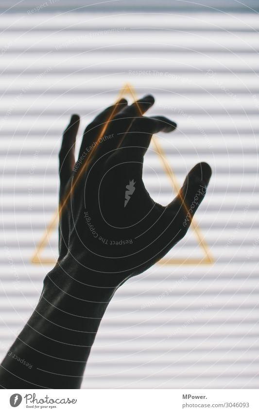 triangulär gehändelt Mensch Hand ästhetisch Finger Gold Zeichen Symbole & Metaphern Streifen Kontakt Ornament greifen Dreieck
