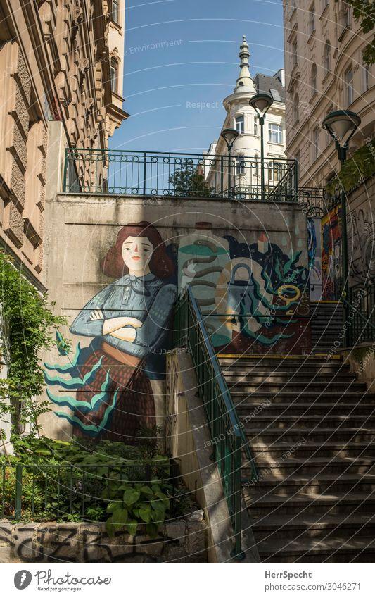 Capistranstiege in Mariahilf Wien Hauptstadt Stadtzentrum Altstadt Haus Bauwerk Gebäude Architektur Treppe Graffiti ästhetisch elegant Freundlichkeit trendy
