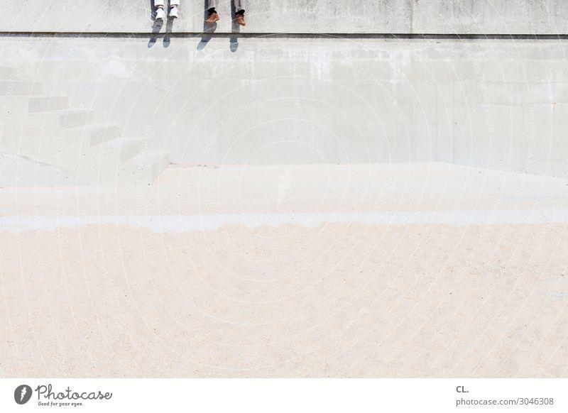 abhängen Ferien & Urlaub & Reisen Tourismus Sommer Sommerurlaub Strand Insel Mensch Paar Erwachsene Leben 2 Sand Schönes Wetter Erholung sitzen Zufriedenheit