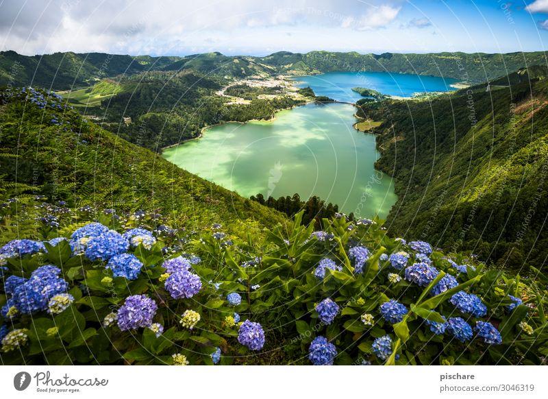Lagoa Verde & Lagoa Azul Ferien & Urlaub & Reisen Tourismus Sightseeing Sommerurlaub Insel wandern Landschaft Schönes Wetter Vulkan See exotisch natürlich schön