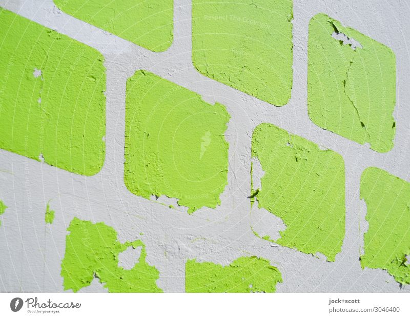Zwischen gelb und blau Stil Mauer Wand Dekoration & Verzierung Quadrat einfach fest nah retro viele grün Stimmung Ordnungsliebe verstört ästhetisch Design
