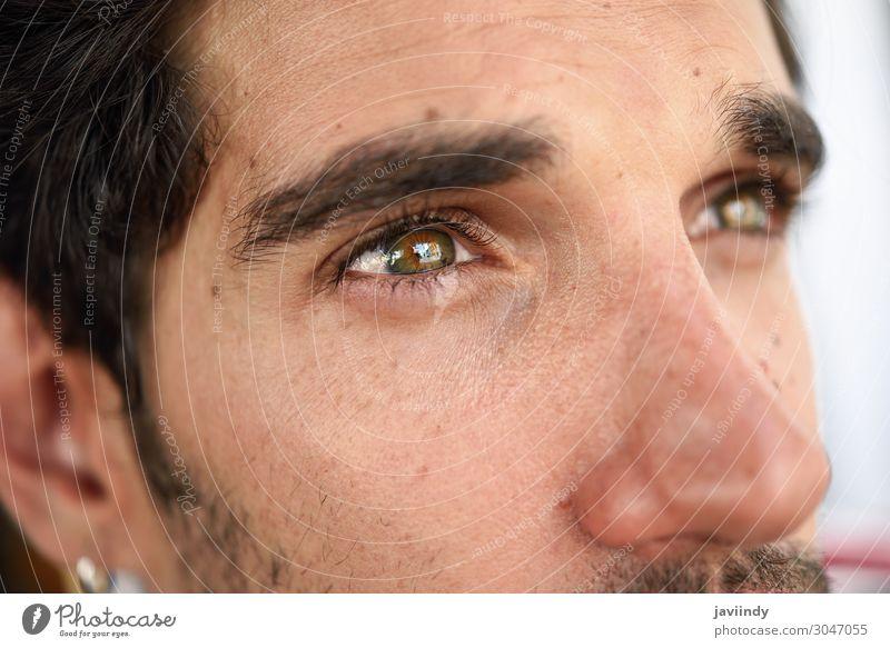 Nahaufnahme eines jungen Mannes mit schönen Augen Lifestyle Stil Glück Haare & Frisuren Gesicht Mensch maskulin Junger Mann Jugendliche Erwachsene 1 18-30 Jahre