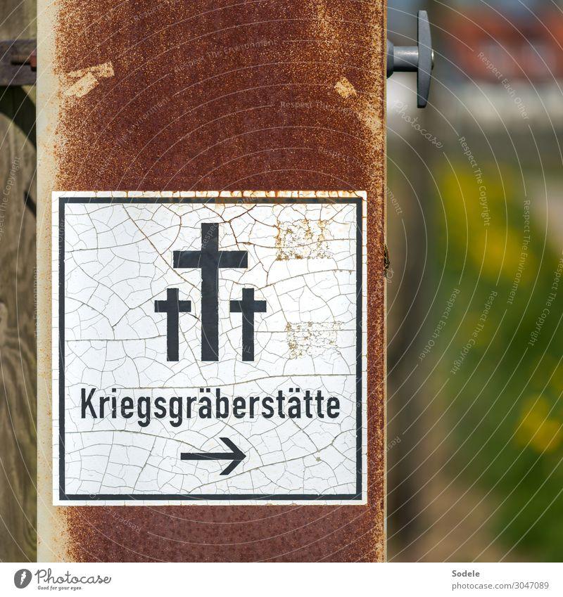 Kriegsgräberstätte Traurigkeit retro Schriftzeichen trist Schilder & Markierungen authentisch Hinweisschild Zeichen Symbole & Metaphern Trauer Rost Kreuz Scham