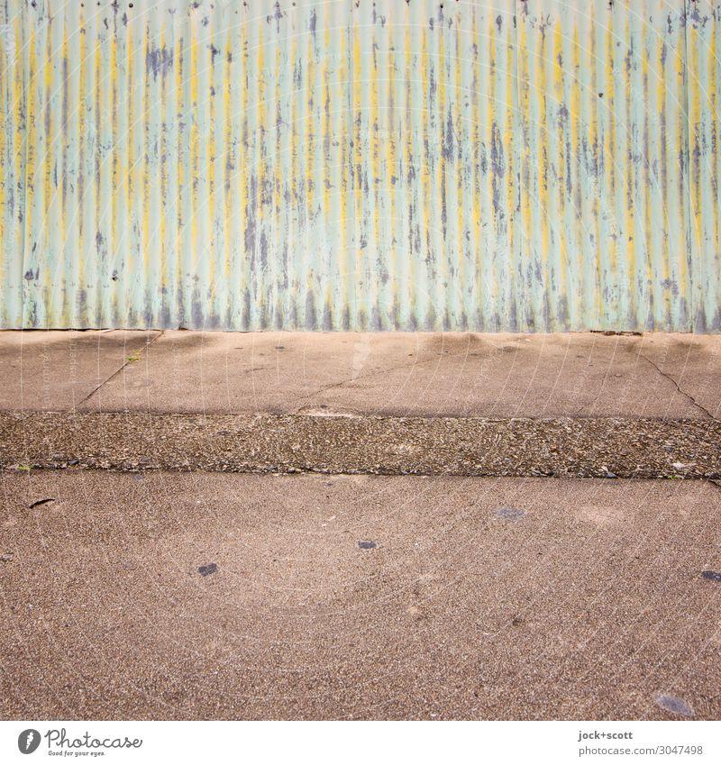 Corrugated Stil exotisch Queensland Dekoration & Verzierung Wellblech Zaunlücke Beton Metall authentisch einfach einzigartig unten Stadt braun Stimmung