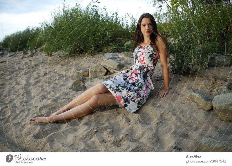 Junge Frau sitzt am Strand Lifestyle Freude schön Leben Wohlgefühl Jugendliche Beine 18-30 Jahre Erwachsene Landschaft Sommer Schönes Wetter Sträucher Flussufer