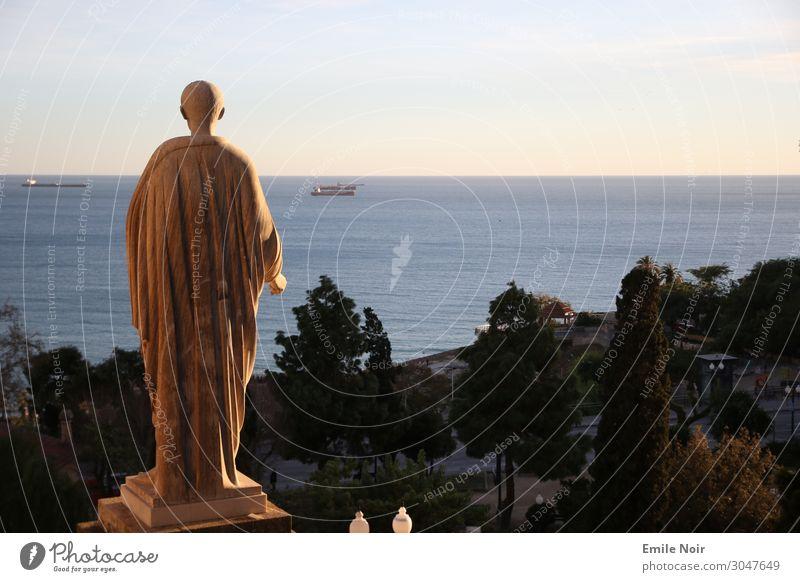 Meerblick Kunst Skulptur Tarragona Spanien Stadt Altstadt Statue Figur Sehenswürdigkeit Denkmal Ferne meerblick Farbfoto Außenaufnahme Dämmerung Weitwinkel