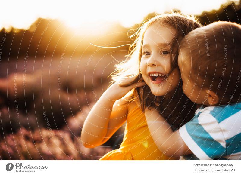Geschwister bei Sonnenuntergang Lifestyle Freude Glück Gesicht Freizeit & Hobby Spielen Freiheit Sommer Junge Schwester Familie & Verwandtschaft Freundschaft