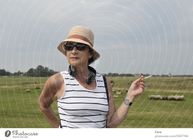 Frau am Deich Mensch Erholung Lifestyle Erwachsene feminin elegant 45-60 Jahre