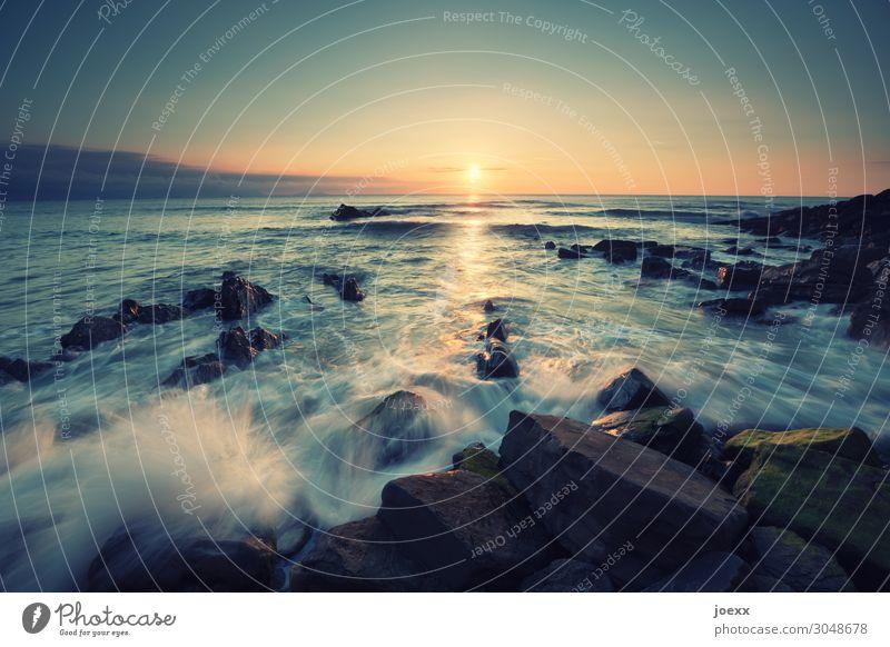 Sonnenuntergang an felsiger Küste Weitwinkel Langzeitbelichtung Dämmerung Abend Menschenleer Außenaufnahme Farbfoto Idylle Ferien & Urlaub & Reisen Sommer