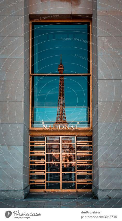 Eiffelturm in Paris Ferien & Urlaub & Reisen Tourismus Ausflug Freiheit Sightseeing Städtereise Sommerurlaub Hauptstadt Stadtzentrum Turm Sehenswürdigkeit