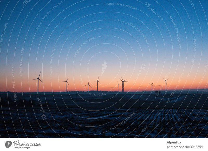 Windräder | nebulös Umwelt kalt Bewegung Energiewirtschaft Beginn Zukunft Klima Wandel & Veränderung planen Sicherheit Windkraftanlage Stress