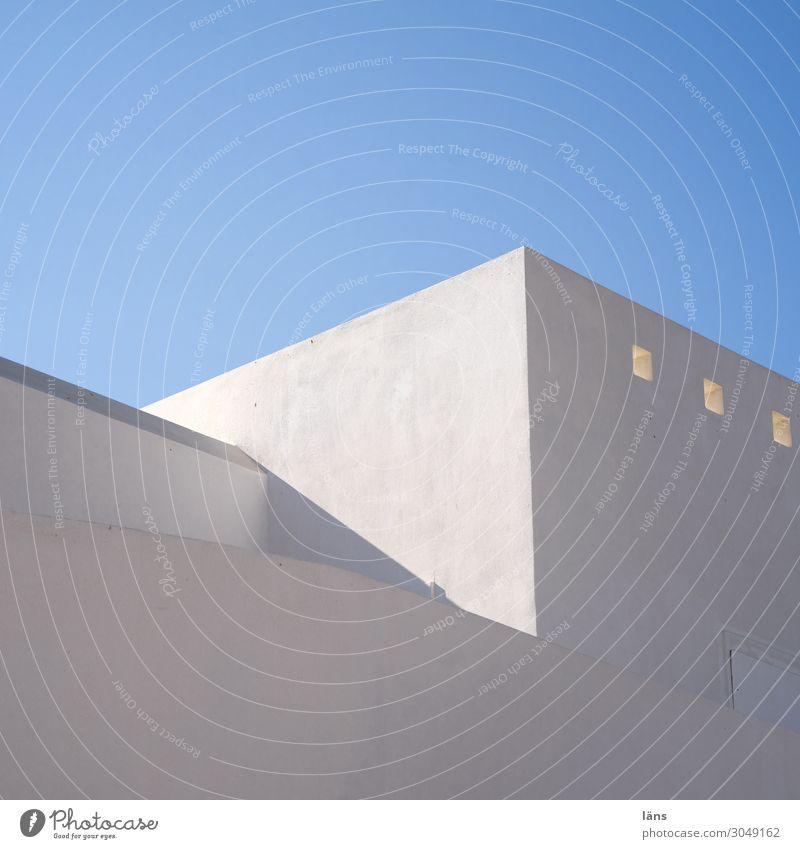 Haus Wand Licht Schatten menschenleer Griechenland weiß blau