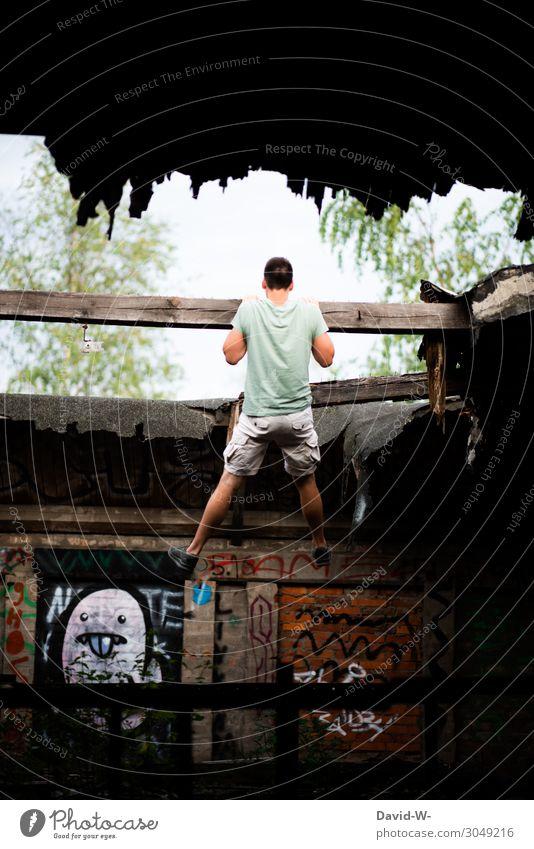 ich muss hier raus Lifestyle Hausbau Renovieren Umzug (Wohnungswechsel) Mensch maskulin Junger Mann Jugendliche Erwachsene Leben 1 30-45 Jahre Kunst Kunstwerk