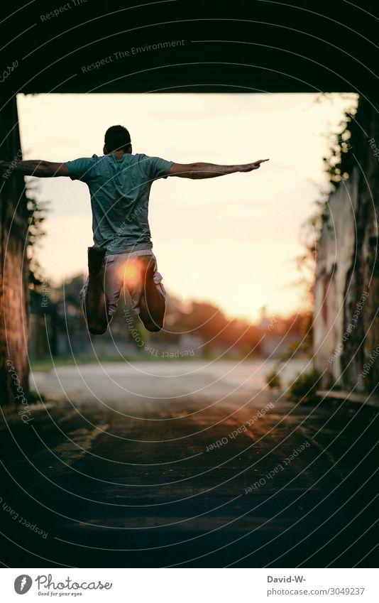 fliegen Lifestyle Leben Zufriedenheit Ausflug Abenteuer Ferne Freiheit Mensch maskulin Junger Mann Jugendliche Erwachsene 1 Kunst Stadt Gefühle springen hoch
