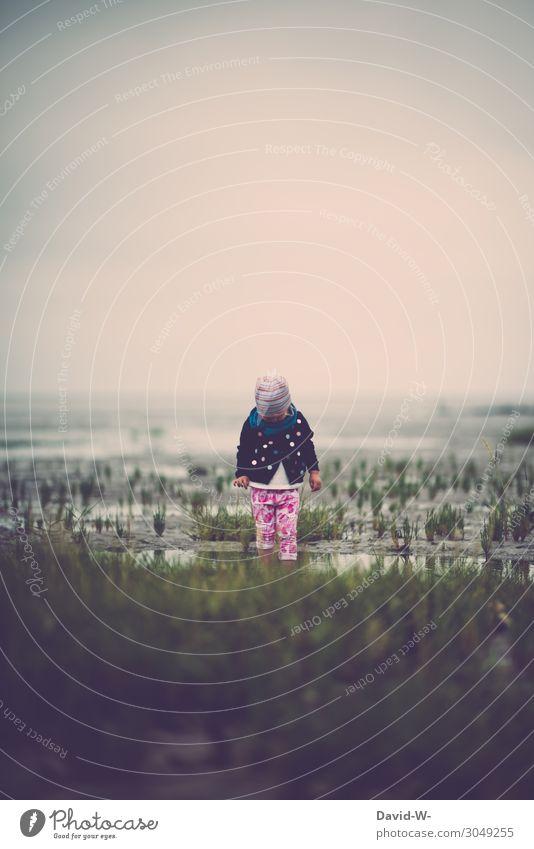 Das Wattenmeer ist schon etwas schönes Kind Mensch Ferien & Urlaub & Reisen Natur Wasser Einsamkeit ruhig Mädchen Ferne Strand Leben Herbst Umwelt feminin Kunst