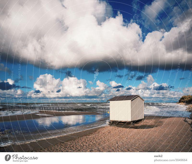 Nasse Füße Umwelt Natur Landschaft Sand Luft Wasser Himmel Wolken Horizont Schönes Wetter Wind Wellen Küste Ostsee Polen Hütte einfach blau weiß Gelassenheit