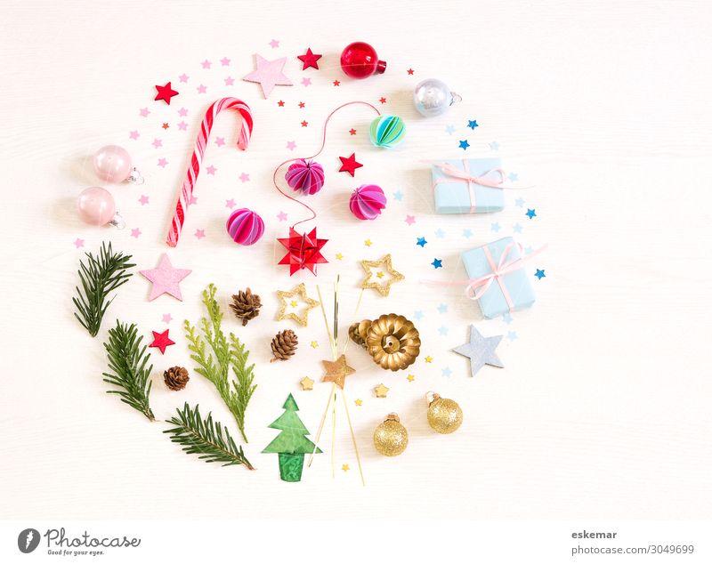 Weihnachten Flatlay Zuckerstange Dekoration & Verzierung Feste & Feiern Weihnachten & Advent rund grün rosa weiß Weihnachtsbaum Postkarte Stillleben Aufsicht