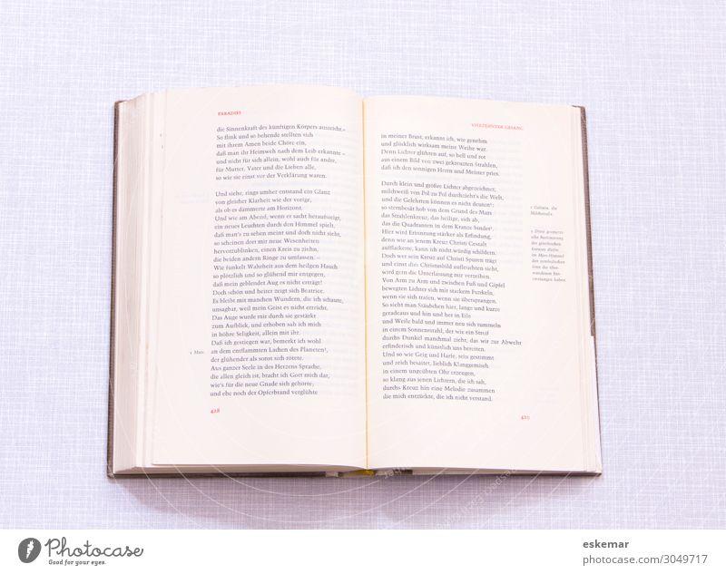 Dante Göttliche Komödie lesen Buch Literatur Weltliteratur alt Bekanntheit historisch weiß Kunst klassisch Paradies offen Seite aufgeschlagen Textfreiraum für