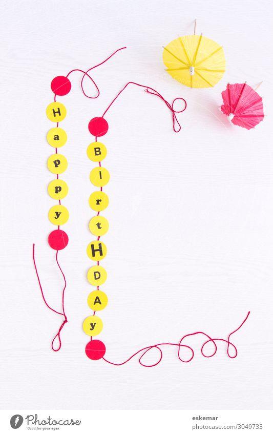 Happy Birthday Dekoration & Verzierung Feste & Feiern Geburtstag Girlande Platz Fröhlichkeit gelb rot weiß Glückwünsche Karte Geburtstagskarte herzlich