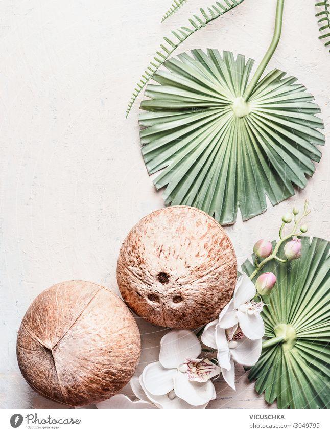 Zwei ganze Kokosnüsse auf hellem Hintergrund mit tropischen Blättern und Blumen, Draufsicht, Rahmen. Kopierraum für Ihr Design: Produkt oder Text. Konzept der veganen Lebensweise. Vorteile der Kokosnuss