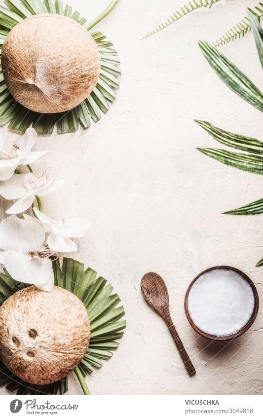 Holzschale mit Kokosöl und Kokosnüsse Lebensmittel Design schön Gesundheit Alternativmedizin Gesunde Ernährung Wellness Spa Natur Blatt Hintergrundbild coconuts