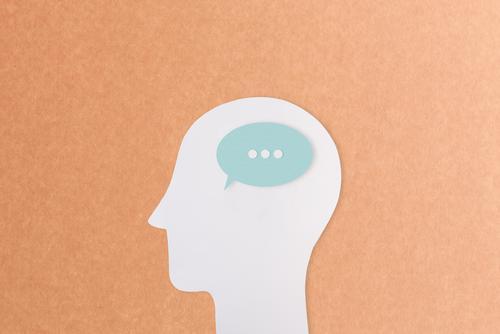Sprachlos Sitzung sprechen Mensch Kopf 1 Sprechblase Zeichen Schriftzeichen Kommunizieren Verschwiegenheit Gelassenheit geduldig ruhig Selbstbeherrschung