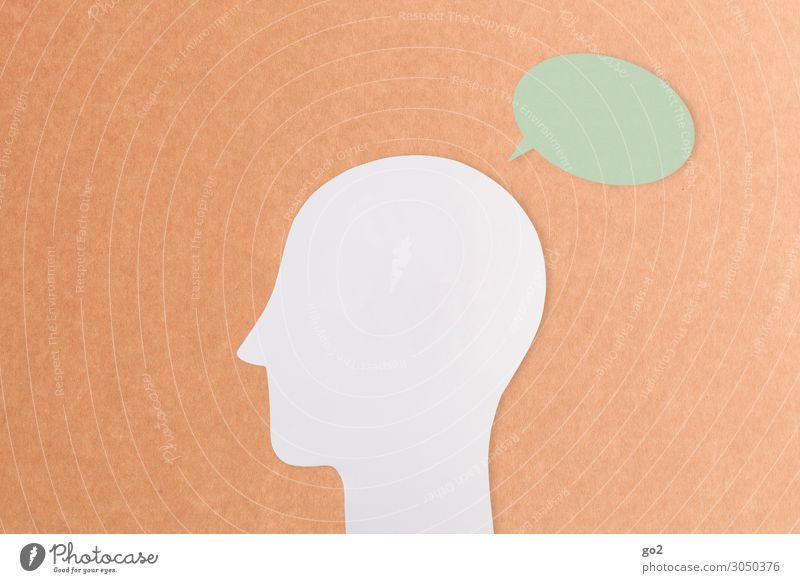 Kopf mit Sprechblase Sitzung sprechen Mensch 1 Zeichen Kommunizieren ästhetisch Idee Identität einzigartig Inspiration lernen Problemlösung Sinnesorgane stumm