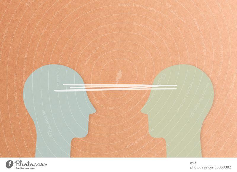 Kommunikation Mensch sprechen Kopf Freundschaft Zufriedenheit Kommunizieren einzigartig beobachten Grafik u. Illustration Zeichen Team Zusammenhalt Kontakt