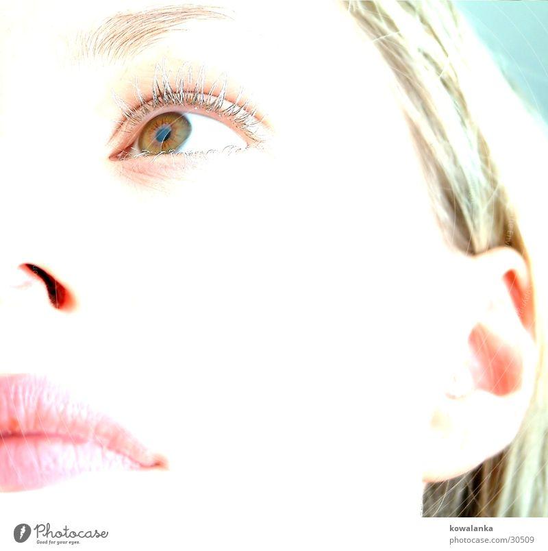 portrait Frau Gesicht Auge Mund Pastellton
