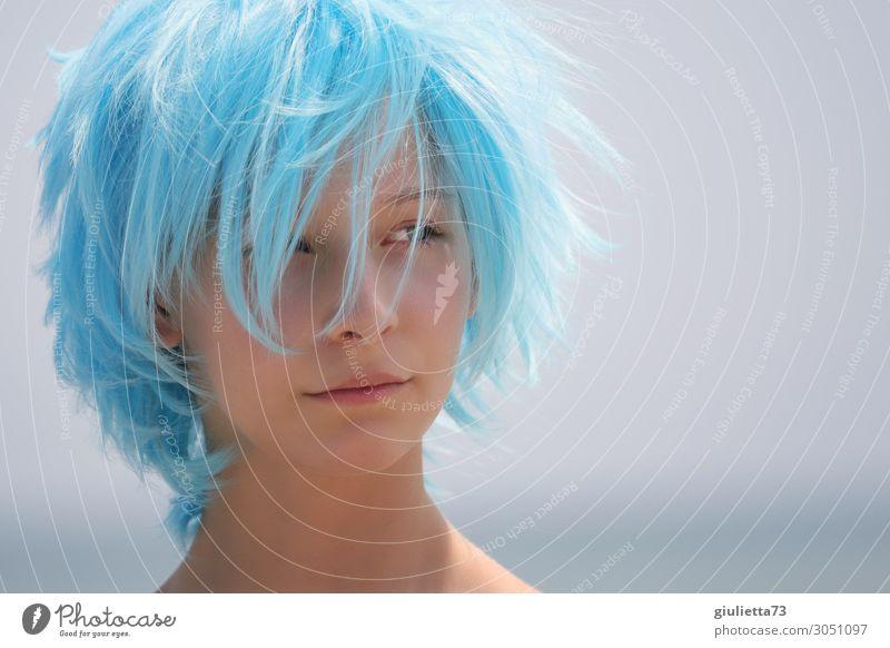 Hipster girl with blue hair Junge Frau Jugendliche Leben Haare & Frisuren 1 Mensch 13-18 Jahre Sommer Schönes Wetter kurzhaarig Perücke Wuschelkopf trendy blau