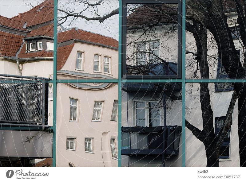 Scheibchenweise Wolkenloser Himmel Baum Baumstamm Ast Bautzen Deutschland Haus Mauer Wand Fassade Balkon Fenster Stadt verrückt bizarr Verzerrung Teilung
