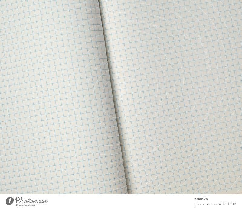 Textur eines offenen Schulheftes in einer Zelle Design Schule Büro Business Papier Linie schreiben Sauberkeit blau weiß geometrisch Hintergrund blanko Käfig