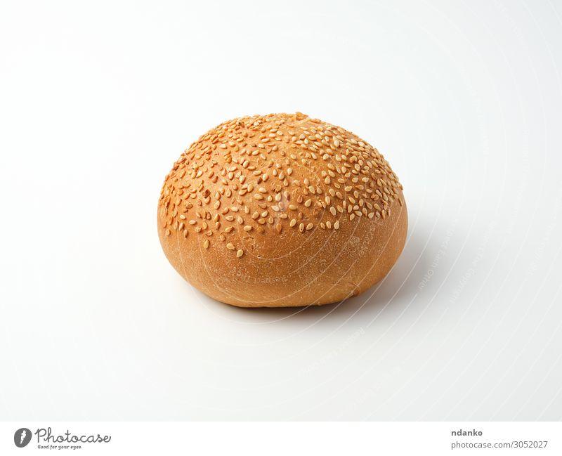 gebackener runder Brötchen mit Sesamkernen Brot Essen Frühstück Mittagessen Abendessen Fastfood braun weiß Kruste schnell Belegtes Brot Lebensmittel Mahlzeit