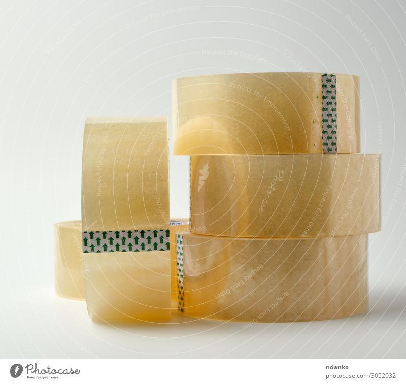 Stapel aus transparentem Klebeband Büro Werkzeug Verpackung Kunststoff gelb weiß Material Gerät Garnspulen Verkaufsklebeband Hintergrund Klebstoff