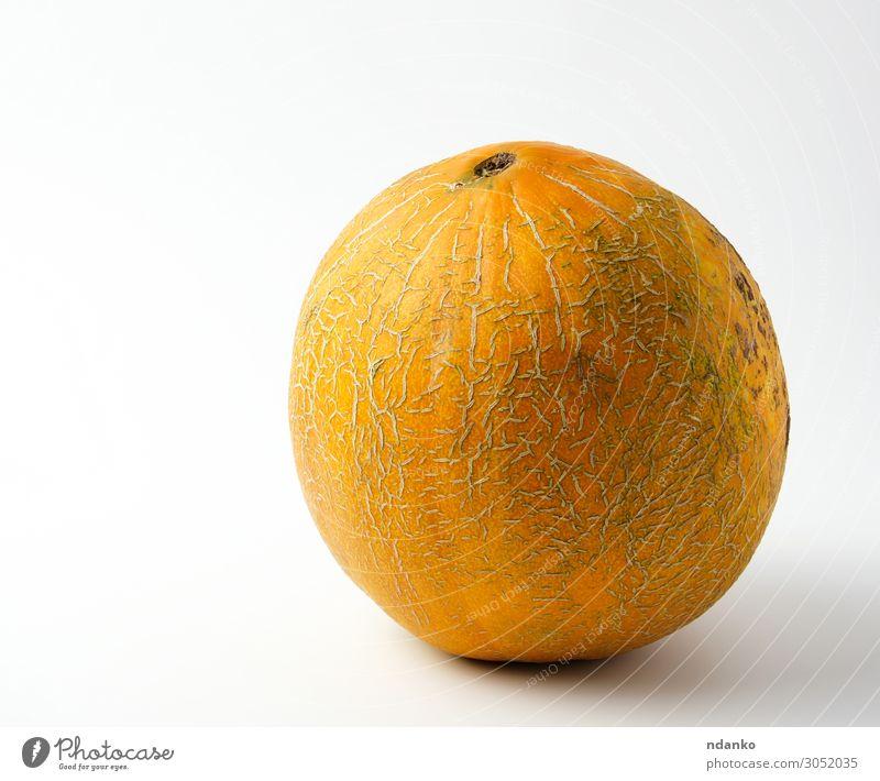 ganze reife gelbe Melone auf weißem Hintergrund Gemüse Frucht Dessert Ernährung Vegetarische Ernährung Diät Sommer Natur Essen frisch lecker natürlich saftig
