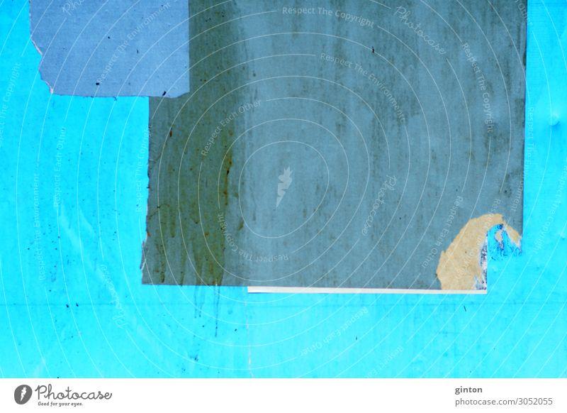 Abgerissenes Poster Papier Zettel Holz eckig einfach kaputt blau türkis Hintergrundbild Fetzen Papierfetzen Wand Geometrie Plakatwand Werbeplakat Werbeposter