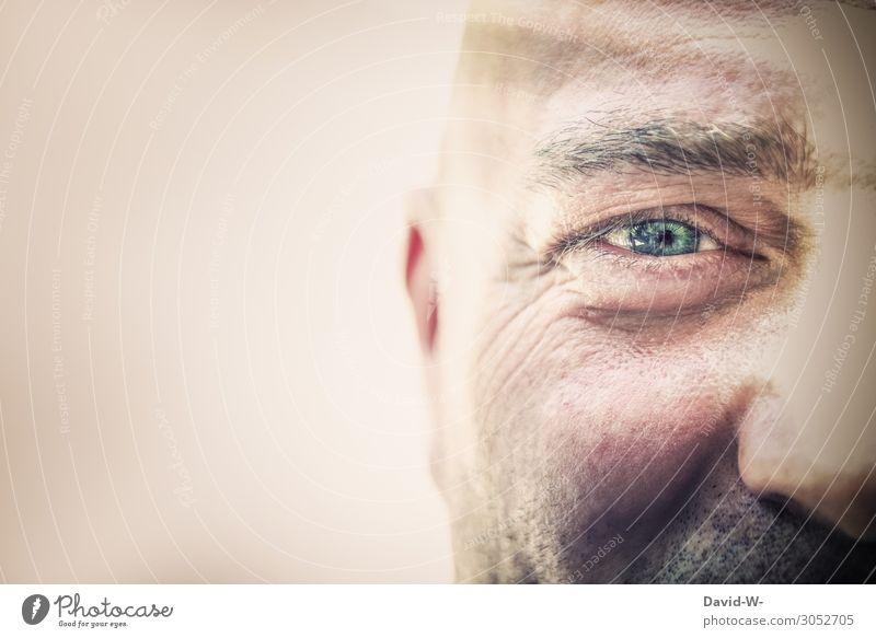 Halbprofil Arbeit & Erwerbstätigkeit Business Karriere Erfolg Mensch maskulin Mann Erwachsene Senior Leben Kopf Auge 1 Kunst Kunstwerk beobachten blau
