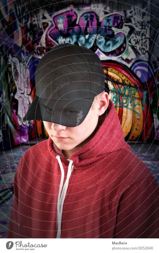 Graffiti Sprayer Mann Erwachsene 1 Mensch 13-18 Jahre Jugendliche Kunst Kultur Jugendkultur Mütze Abenteuer Angst ästhetisch Desaster einzigartig Idee skurril