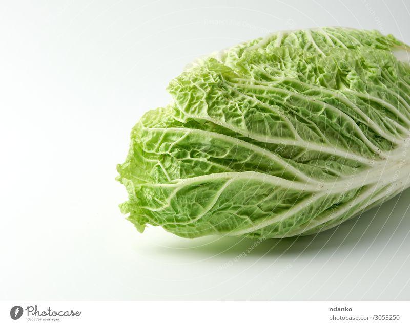 ganzer Kopf Peking-Grünkohl Gemüse Frucht Ernährung Vegetarische Ernährung Diät Küche Natur Pflanze Blatt frisch natürlich grün weiß Chinesisch bok Choi Napa