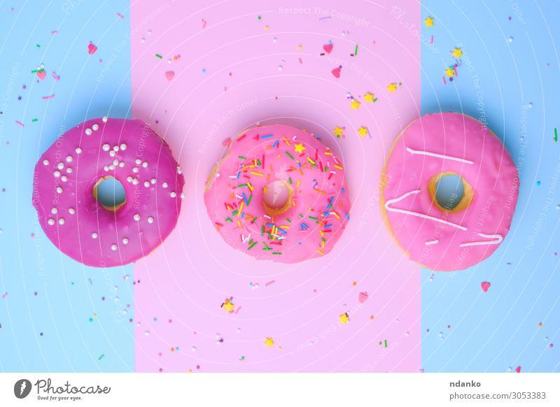 drei runde verschiedene süße Donuts Teigwaren Backwaren Kuchen Dessert Süßwaren Ernährung Frühstück Dekoration & Verzierung Feste & Feiern Papier Essen