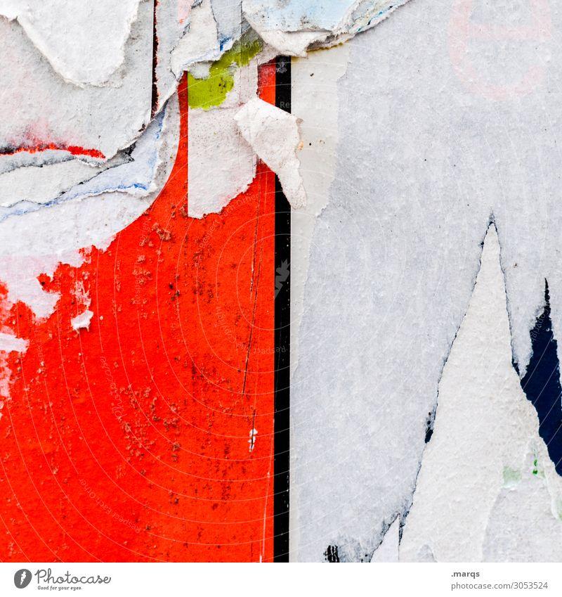 Fetzig Werbebranche Werbeschild Litfaßsäule Linie alt kaputt trashig rot weiß gerissen Farbfoto Außenaufnahme Nahaufnahme Menschenleer Textfreiraum links