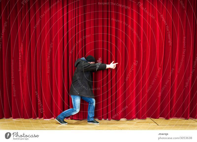 Krimi Vorhang Theater Theaterschauspiel rot Bühne Veranstaltung Entertainment Kriminalität Angriff Aggression Kultur Mann schießen