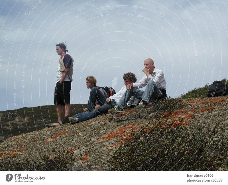 on the rocks Portugal Ferien & Urlaub & Reisen Mann Meer Küste Mensch Felsen Denken think Wind