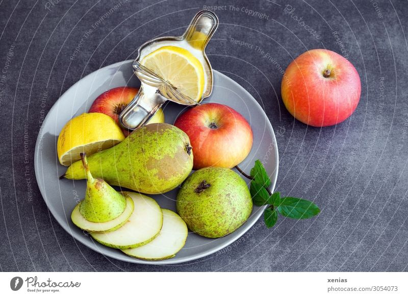 Obstteller mit Birne, Apfel und Zitrone Gesunde Ernährung grün rot schwarz Gesundheit Lebensmittel Essen Lifestyle gelb Frucht süß frisch Bioprodukte