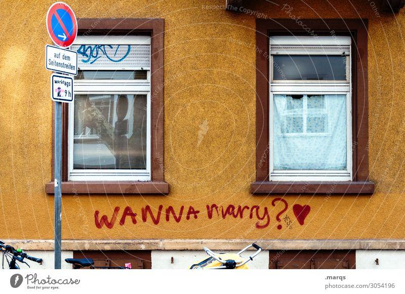 Antrag Freiburg im Breisgau Fassade Fenster Schriftzeichen Graffiti Herz Zusammensein Romantik Liebe Hochzeit Heiratsantrag Fragen Stadt Liebesbekundung