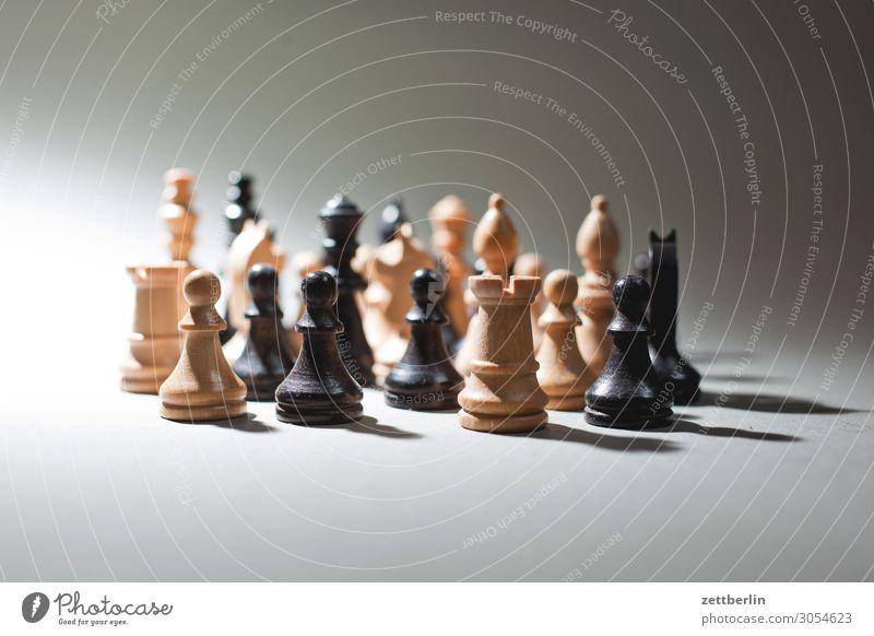 Schachfiguren weiß schwarz Spielen Freiheit Zusammensein Turm Team Zusammenhalt bewegungslos Menschenmenge Dame durcheinander Landwirt Läufer König Anordnung