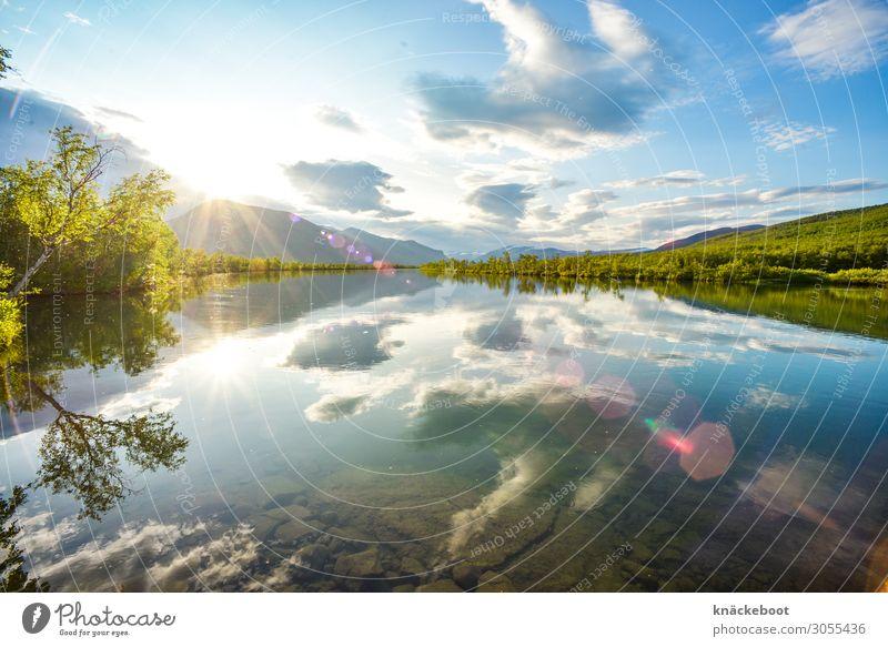 lappland Tourismus Ferne Freiheit Sommer Sonne Berge u. Gebirge Landschaft Pflanze Wasser Wolken Sonnenaufgang Sonnenuntergang Sonnenlicht Schönes Wetter
