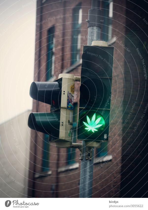 legalize it .... Alternativmedizin Rauschmittel Erholung Blatt Cannabisblatt Ampel Zeichen Verkehrszeichen leuchten authentisch außergewöhnlich Coolness positiv