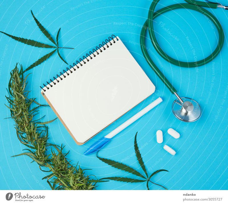 offenes Notizbuch mit weißen Blankoblättern, Hanfzweig Kräuter & Gewürze Gesundheitswesen Alternativmedizin Rauschmittel Medikament Kultur Natur Pflanze Gras