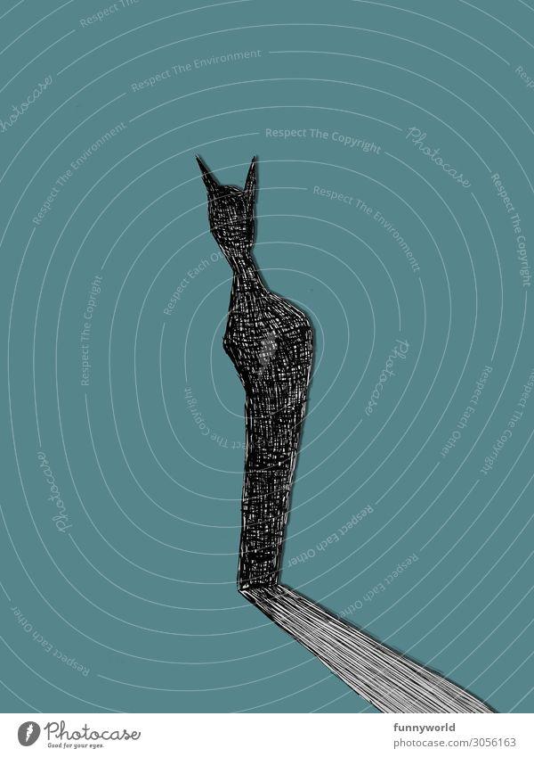 Der Schatten der Katze Tier Haustier 1 stehen türkis schwarz Grafik u. Illustration Zeichnung abstrakt Kunst Kritzelei Einsamkeit Gedeckte Farben Menschenleer